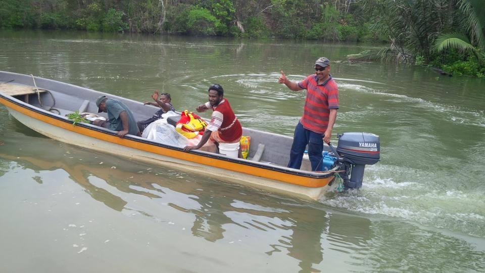 Motor boat on river